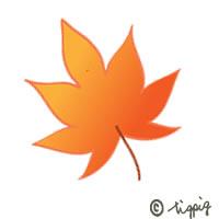 秋のHP制作のアイコンに使える大人可愛い紅葉のイラストのフリー素材:200×200pix