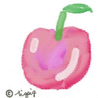 秋冬のwebデザインのアイコン:水彩風のリンゴのイラストのフリー素材:200×200pix
