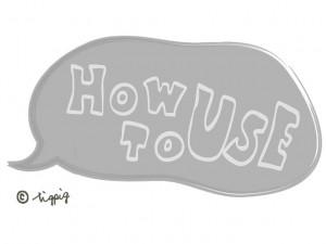 大人可愛い手書き文字のHOW TO USE(使い方)とグレーのフキダシのフリー素材;640×480pix