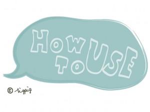 大人可愛いHP制作のフリー素材:手書き文字のHOW TO USE(使い方)とパステルブルーのフキダシ;640×480pix
