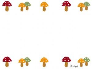大人可愛いキノコの飾り罫のイラストの秋のwebデザイン素材640480pix