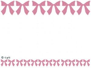 大人可愛いパステルピンクのドットのリボンのイラストのラインのフレーム:640×480pix