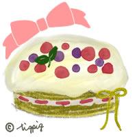 北欧風のベリーのケーキとピンクのリボンのイラストのアイコン:200×200pix