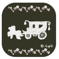 ブラウンブラックの角丸の背景が大人可愛い馬車とキラキラのイラストのアイコン:200×200pix