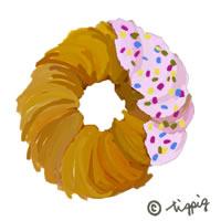 大人可愛いストロベリードーナツのイラストのアイコンのフリー素材:200×200pix