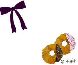 大人可愛いドーナツと赤紫のリボンのイラストのフリー素材:300×250pix