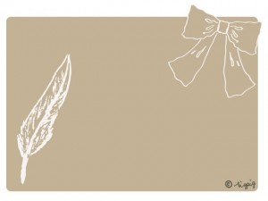 大人可愛いリボンと羽のイラストと淡いカフェオレ色の角丸の背景のフリー素材:640×480pix