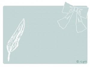 スケッチ風の羽と大人可愛いリボンのイラストパステルブルーの角丸のフレーム:640×480pix