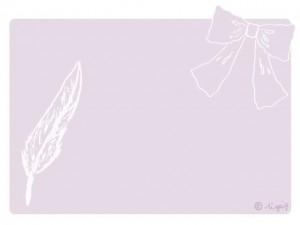 大人可愛い羽とリボンのイラストと薄紫の角丸のフレーム:640×480pix