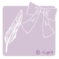 大人可愛いスケッチ風の羽とリボンのイラストのアイコンのフリー素材:200×200pix