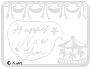 Happy New Yearの手書き文字のフキダシとメリーゴーランドとリボン:640×480pix