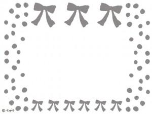 大人可愛いグレーのリボンとドットのフレームのフリー素材:640×480pix