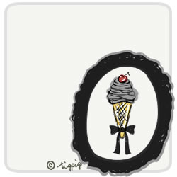 さくらんぼのソフトクリームとブラックのフレームのイラスト:250×250pix