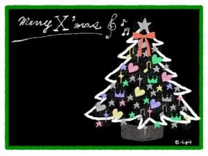 Merry X'masの手書き文字とカラフルなオーナメントのクリスマスツリーのフリー素材:640×480pix