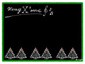 大人可愛い手描き文字のmerry X'masとカラフルなクリスマスツリーいっぱいのフリー素材:640×480pix