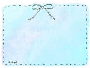 水彩のにじみ(パステルブルー)の背景とリボンの大人可愛いフレーム:640×480pix