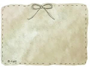 アンティーク風ブラウンの水彩のにじみの背景とリボンの大人可愛いフレーム:640×480pix