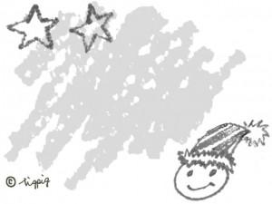 モノトーンのクレヨン画の星と顔のイラストのフレーム:640×480pix