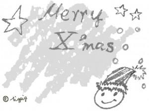 モノトーンのMerry X'masの手描き文字と顔と星と雪とクレヨンのラフな背景:640×480pix