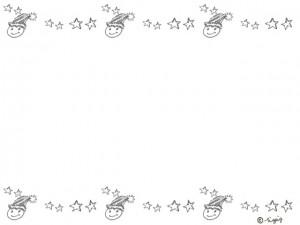 モノトーンの顔のイラストと星いっぱいの飾り罫のフレーム:640×480pix
