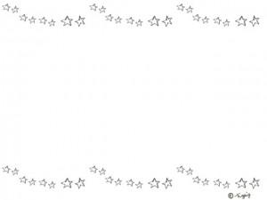 モノトーンの落書き風のシンプルな星いっぱいの飾り罫のフレーム:640×480pix