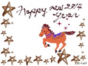 HAPPY NEW YEAR 2014の手描き文字と馬のイラストと水彩の星のフレーム:640×480pix