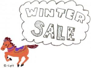 大人かわいい馬のイラストと「WINTER SALE」の手書き文字とふきだし:640×480pix