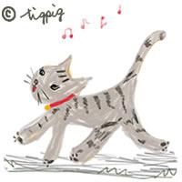 大人かわいい猫のイラストアイコンの無料素材:200×200pix