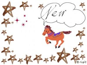 NEWの手書き文字のフキダシと馬のイラストと星のフレームのイラスト無料素材