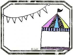 大人可愛いサーカスのテントのイラストのフレーム:640×480pix