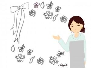 リボンと小花のフレームと女性のイラスト:640×480pix