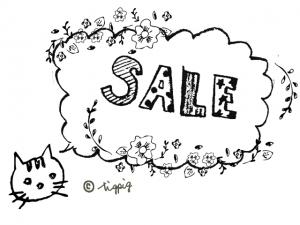 大人可愛い手描き文字SALEの吹出しと猫と小花:640×480pix
