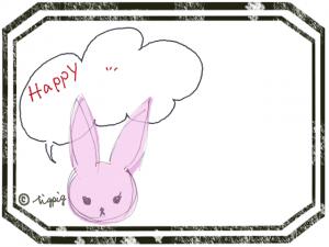 大人可愛いウサギとHappyのフキダシとスタンプ風ラベルのフレーム:640×480pix