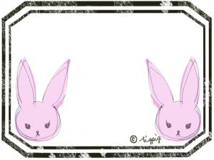 シンメトリーのピンクの兎とアンティークのかすれたラベル風のフレーム:640×480pix
