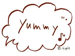 yummy(おいしい)の手描き文字と音符のポップなフキダシ:640×480pix