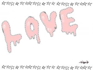 溶けかけの手書き文字のLOVEと星いっぱいのラインのフレーム:640×480pix