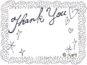 Thank youの手描き文字とレースの大人可愛いモノトーンのフレーム:640×480pix
