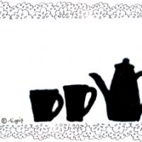 マグカップとポットのシルエットとレースのイラストのフレーム:640×480pix