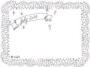 大人可愛い手描き文字のJuly2014の見出しのリボンとレースのフレーム(640×480pix)