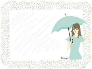 雨にも晴れにも使える傘をさした女性のイラスト:640×480pix