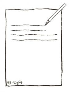 お知らせや注意書きに使える紙とペンのイラストのフレーム:480×640pix