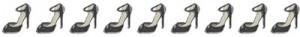 大人可愛い黒のピンヒールのハイヒールいっぱいのイラストの飾り罫:400×50pix