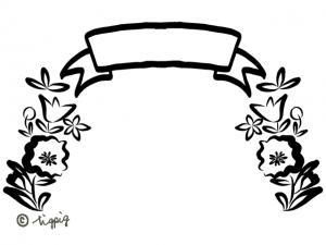見出しのリボンと北欧風の花のモノトーンのフレーム:640×480pix