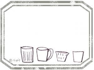 北欧風のシンプルなカップのイラストとラベル風フレーム:640×480pix