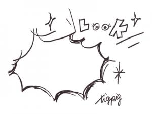 漫画風のパンクのフキダシと手描き文字のLOOK:400×300pix