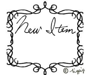 手書き文字「New Item」とカリグラフィー風のフレーム