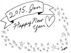 大人可愛いモノトーンの2015Janとhappy new yearの手書き文字のリボンと星のフレーム