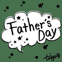 【父の日】Fathe's Dayの手書き文字と星のモノトーンのフキダシ素材