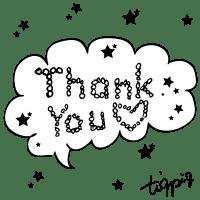 【ギフトの文字】Thank youの手書き文字と星のフキダシ素材