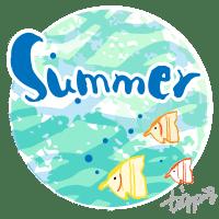 Summer の手書き文字と熱帯魚と海中のイメージの背景のwebデザイン素材(丸):600×600pix